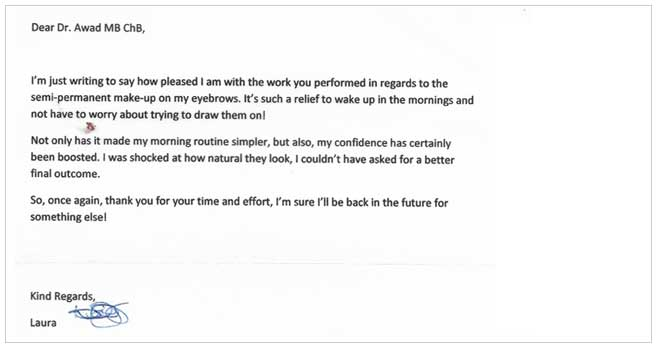 Letter of Thanks After Botox Treatment in Bournemouth and Poole
